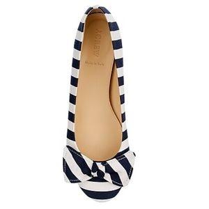 {J.CREW} Cece Ballet Bow Flats Navy Ivory Stripes